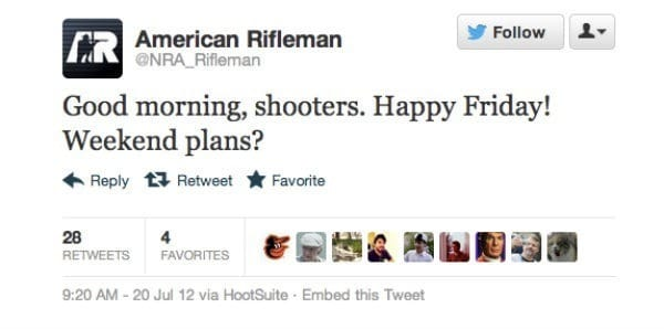 American Rifleman, a journal affiliated with the NRA, tweeted a pro-gun message as the mass shooting at a movie theatre in Aurora, Colorado, was unfolding. (source: Mashable)