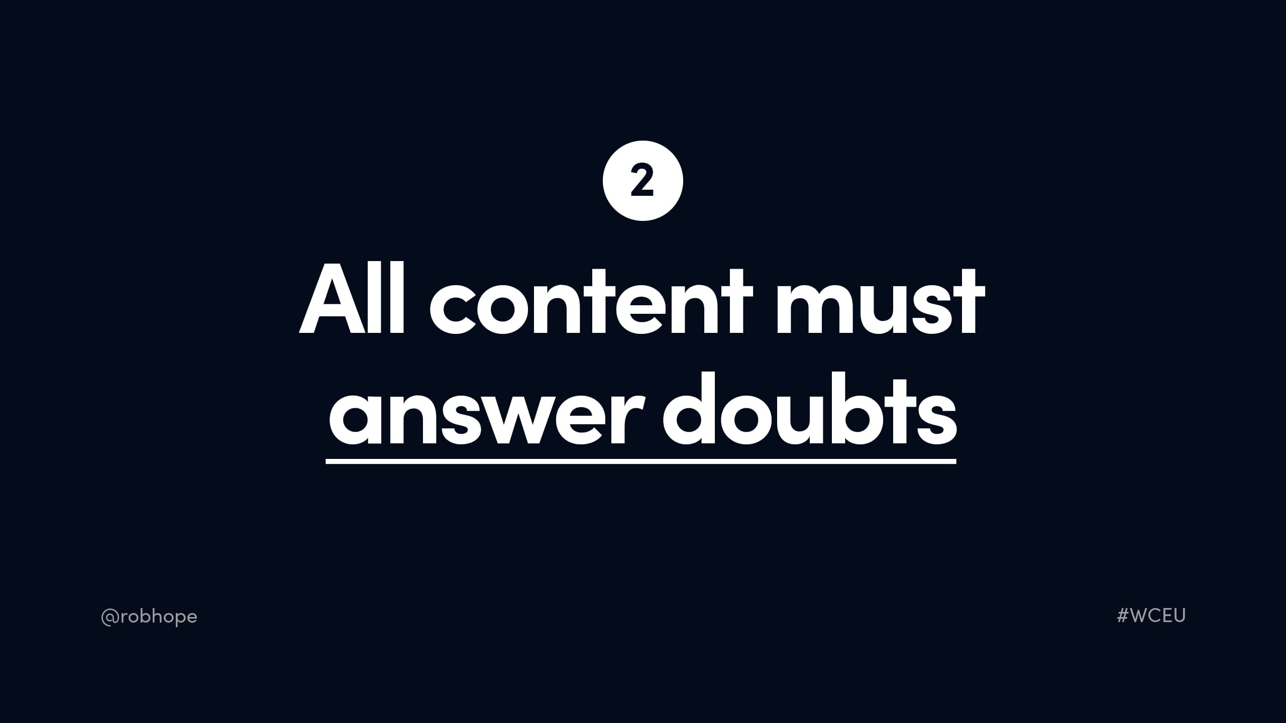 All content must answer doubts
